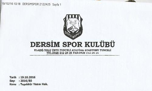 Dersimspor'dan Kulübümüze Teşekkür